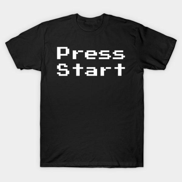 press start retro gaming 8 bit tee shirt