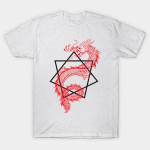 asian dragon with sacred geometry heptagram